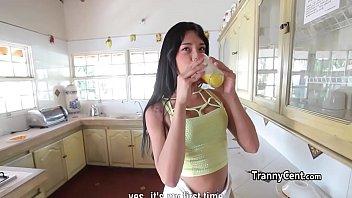 Tgirl jerking behind the scenes