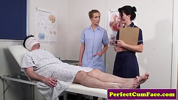 Photos of nurses giving blowjobs - Threeway nurse facialized with huge load