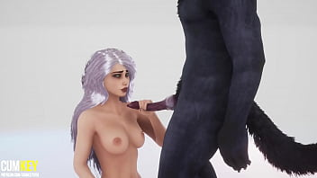 Sexy Girl Breeds with Bad Werewolf   Big Cock Monster   3D Porn Wild Life 10 min