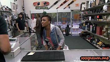 Shaved ebony sucks off and screwed by nasty pawn keeper