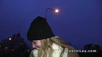 Czech blonde banged outdoor pov in her coat thumbnail