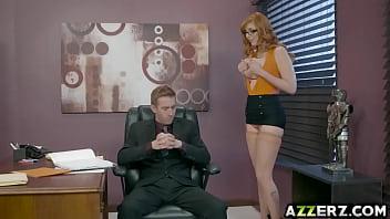 Busty redhead Lauren Phillips fucks with her boss