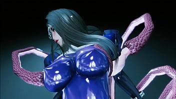 Skyrim: Estrus tentacles fuck girl in catsuit
