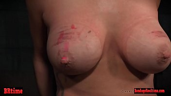 Busty BDSM sub punished by masters