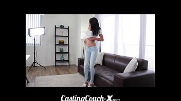 Casting Couch-X Teen softball pitcher ready to catch cock