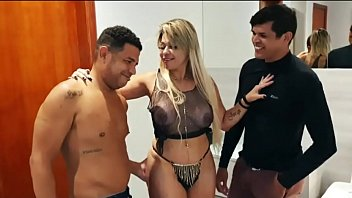 Brazilian blonde hot wife gives up going out and fucks her husband and friend at home