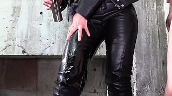 Milking White Cum With Black Leather Pants, Extreme Footjobs 2