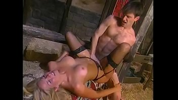 Booty blonde slut in black nylon stockings gets her twat drilled from the back at the barn