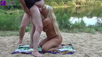 Sperm and piss bitch gets public on a bathing lake, the mouth stuffed! Dirty used by 40 men as cum and piss toilet! Part 1