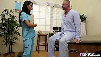 Nurse shemale anal fucks a patients ass in the hospital