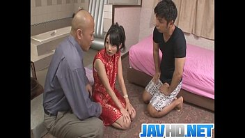 Steamy porn action along Japanese doll with two horny males