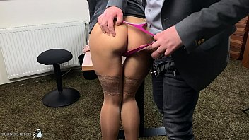 Nude employees Boss uses sexy secretary in highheels and stockings doggystyle, business bitch