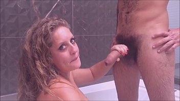 Kellenzinha taking a shower with her very big dick friend in front of her cuckold - complete in red