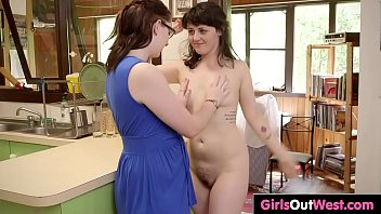 Lovely hairy brunettes lick and rub each other