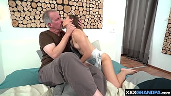 Small titted Stefanie last ride on grandpas old cock