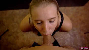 StepSister Gives Hard Blowjob And Tries Deepthroat as Birthday Gift To Her StepBrother! Swallow Cum! 17 min