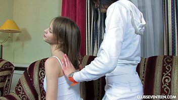 Sexy lesbian teens sharing a long dildo