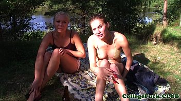 College teens facialized in outdoor threesome 7 min