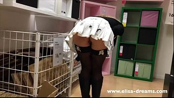 Upskirt and flashing no panties in a famous shop
