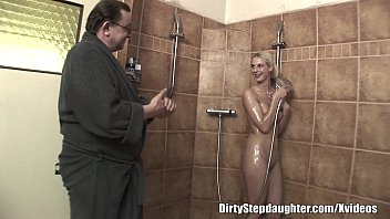 Naked daughter porn - Lucky dad fucks blonde stepdaughter in the shower