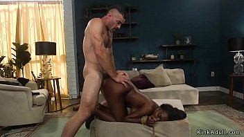 Ebony wife is fucked in bondage