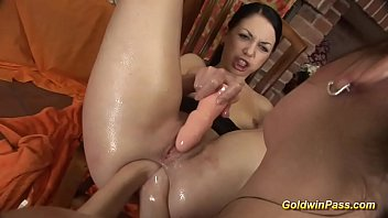 crazy babe gets double anal fisted by her girlfriend