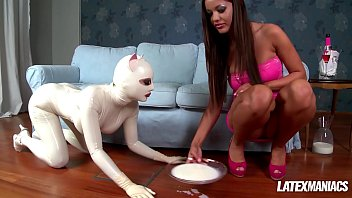 Latex Fetish Maniac Angelica Heart dominates her slave
