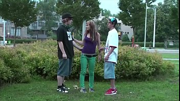 Hot teen Alexis Crystal public street threesome sex with 2 young guys