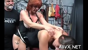 A naked woman with a dick Naked woman bizarre bondage at home with sexually excited man