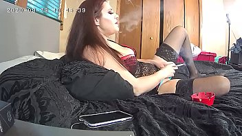 MILF in Lingerie Smokes and Orgasms Hidden Cam