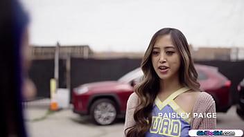 Asian Cheerleader Licks Coed To Shut Up