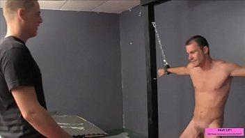 ball-busting a bound boy