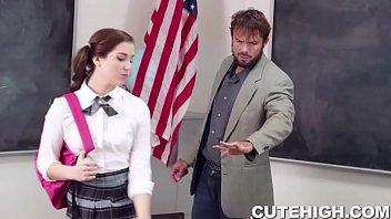 Bubbly Brunette Fucks Teacher 8 min