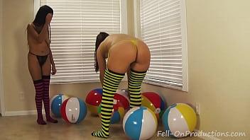 Yesenia Sparkles and Madisin Lee in Yesenia Sparkles Beach Ball Lesson.MILF Teen porn image