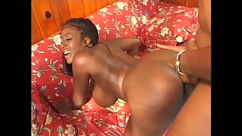 Horny stud loves banging busty black whore before he creams her face