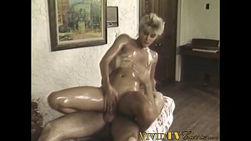 Beautiful babe rides cock after hot massage in vintage scene