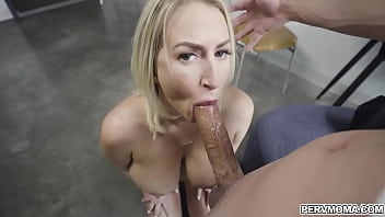 Quinn Waters gets down on her knees to give Johnny a blowjob reward for doing his chores