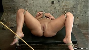 Huge tits Ava Devine oiled on hogtie
