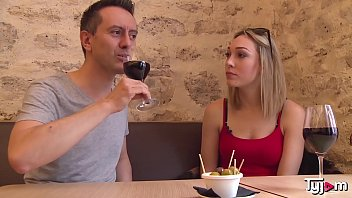 Blonde Goddess Lily Labeau taste some wine an a big hard cock