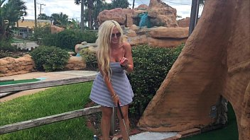 Sex on the golf course in vegas Hot blonde kelley cabbana fingers pussy in public mini golf