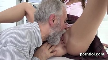 Fervid schoolgirl is tempted and penetrated by her elderly teacher