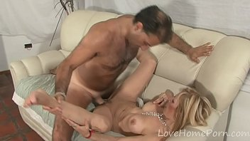 Busty blonde mounts her lover's thick schlong