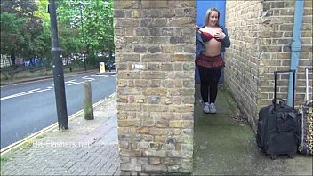 Cute Ashley Riders flashing and overcoming her shyness to expose firm tits and o