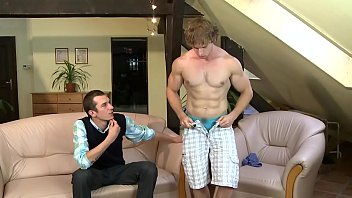 Gaywire - Bodybuilder John Mayer Shows Off His Muscles, Caleb Moreton Shows Off His Big Cock