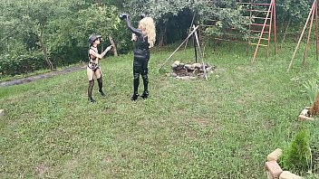 Horse training for blonde TV TS cunt by sexy goth domina pt1 HD