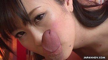 Japanese babe, Kotone Amamiya licks dick, uncensored