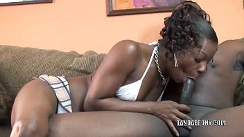 Black housewife Anastasia is swallowing some dick