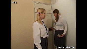 Two Schoolgirl Sluts In Uniform Smoking And Wanking A Guy