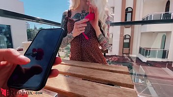 Pussy play in cafe Sexy blonde play pussy sex toy in the public cafe