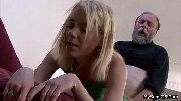 Bearded old man punish son's blonde GF